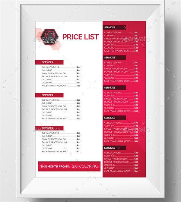 Salon Price List Template 23 Printable Price List Templates Free & Premium Download
