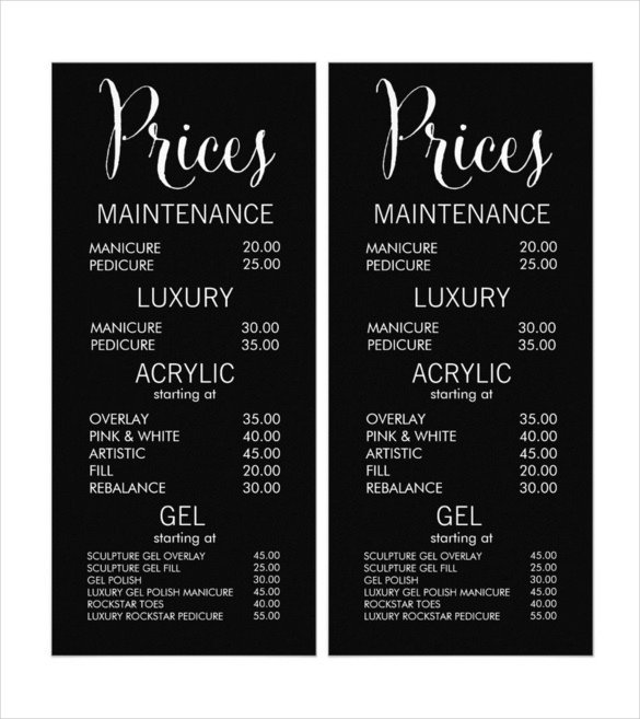 Salon Price List Template 24 Price Menu Templates Free Sample Example format