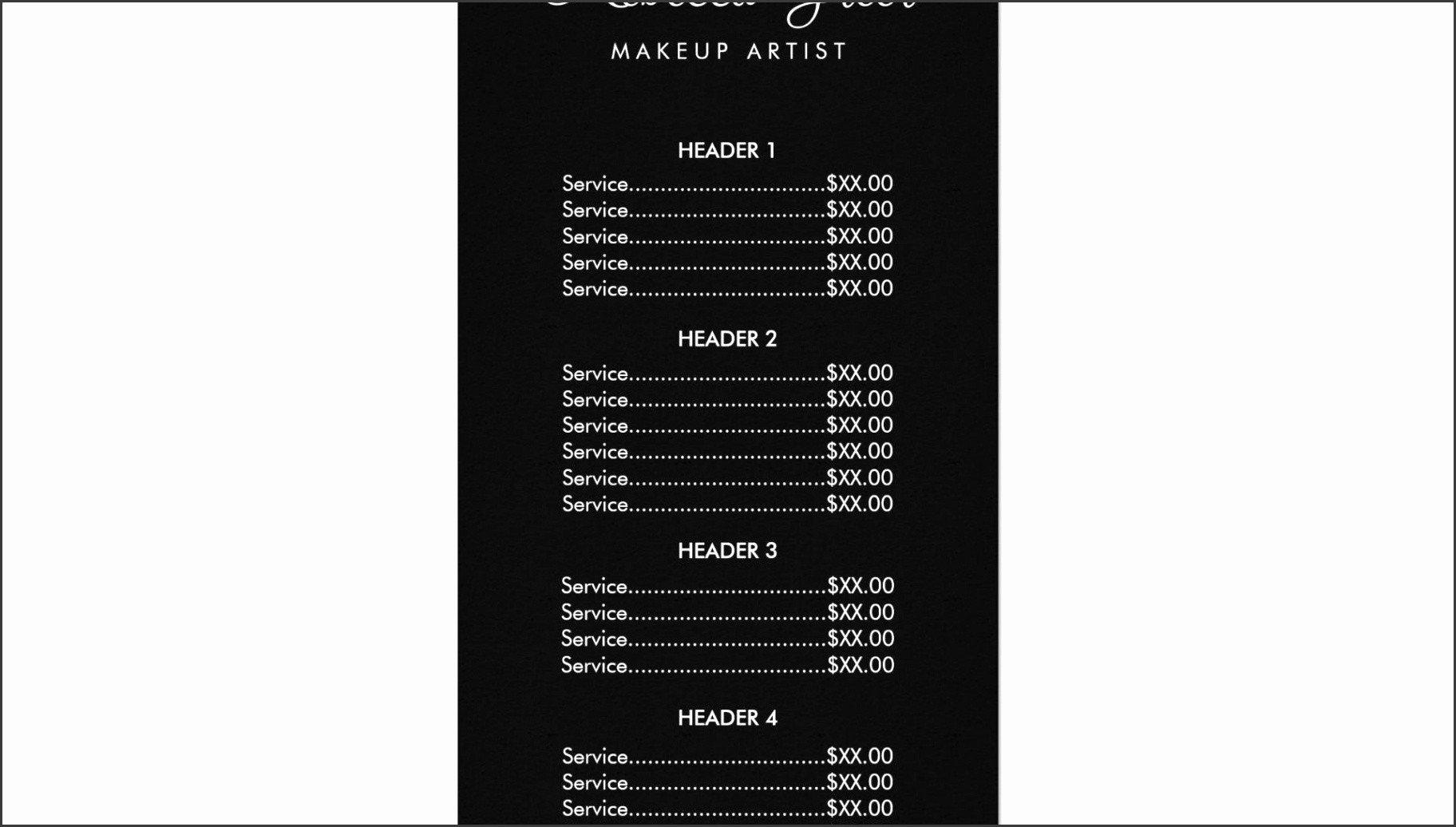 Salon Price List Template 6 Salon Price List Template Sampletemplatess