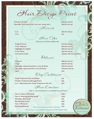 Salon Price List Template 78 Best Images About Salon Pricing On Pinterest
