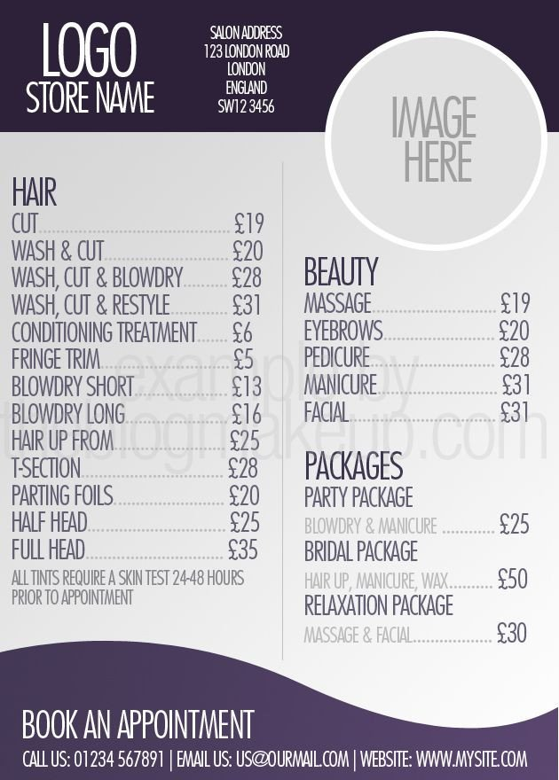 Salon Price List Template Beautifully Designed Menus and Price Lists for Salons