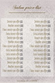 Salon Price List Template Beauty and Diet Poster Templates