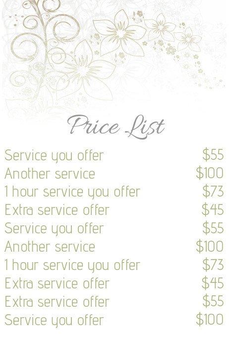 Salon Price List Template Beauty Salon Price List Template