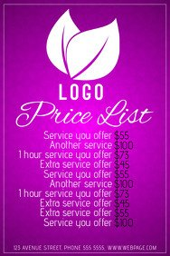 Salon Price List Template Customizable Design Templates for Price List