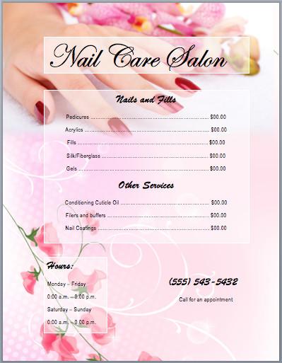 Salon Price List Template Nail Services Salon Price List Template