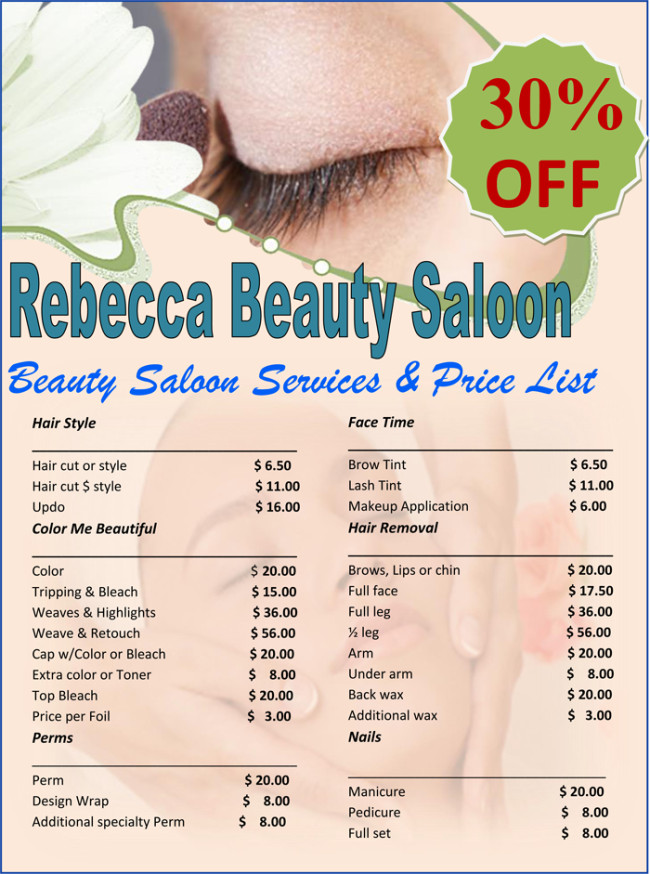 Salon Price List Template Price List Template 6 Price Lists for Word and Excel