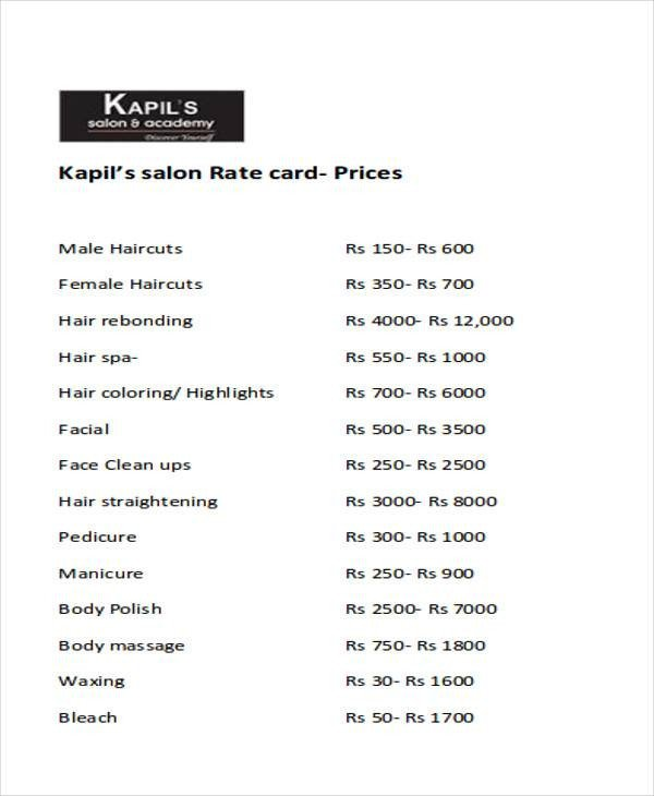 Salon Price List Template Salon Price List Sample 9 Examples In Word Pdf