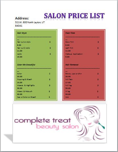 Salon Price List Template Salon Price List Template Templates