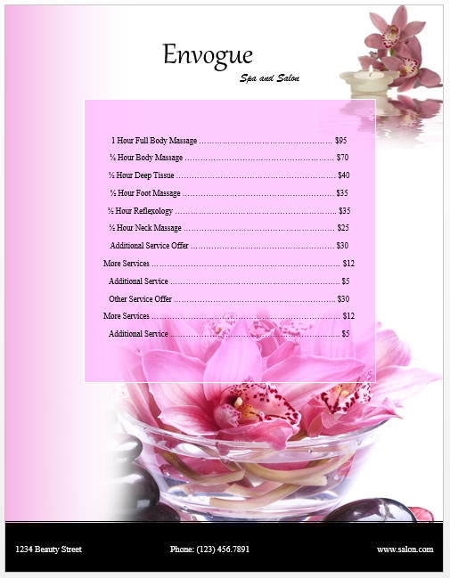 Salon Price List Template Spa Price List Template Microsoft Word Templates