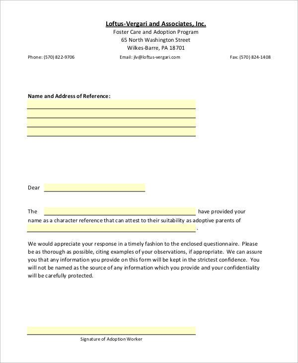 Sample Adoption Reference Letter Sample Re Mendation Letter 8 Examples In Word Pdf
