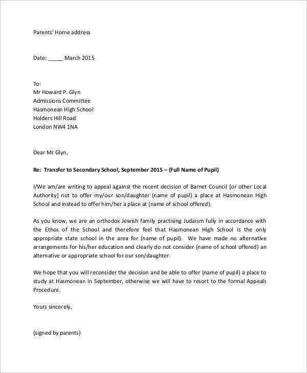 14 Appeal Letter Samples PDF Word