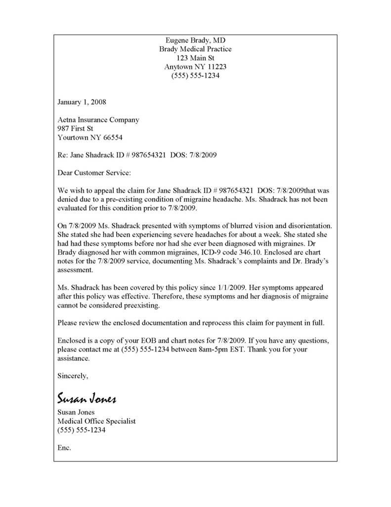 Sample Appeal Letter format Best Aetna Provider Claim Resubmission Reconsideration