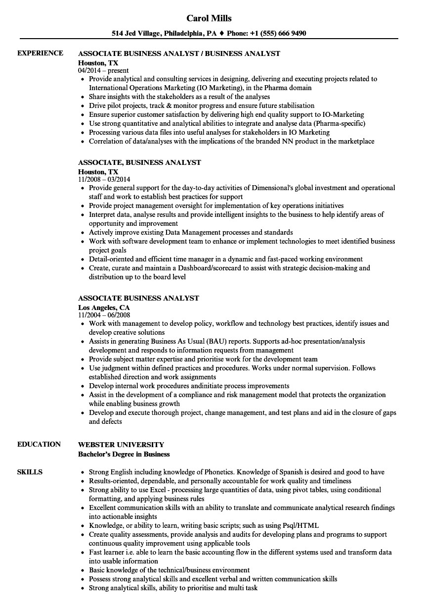 Sample Business Analyst Resume associate Business Analyst Resume Samples