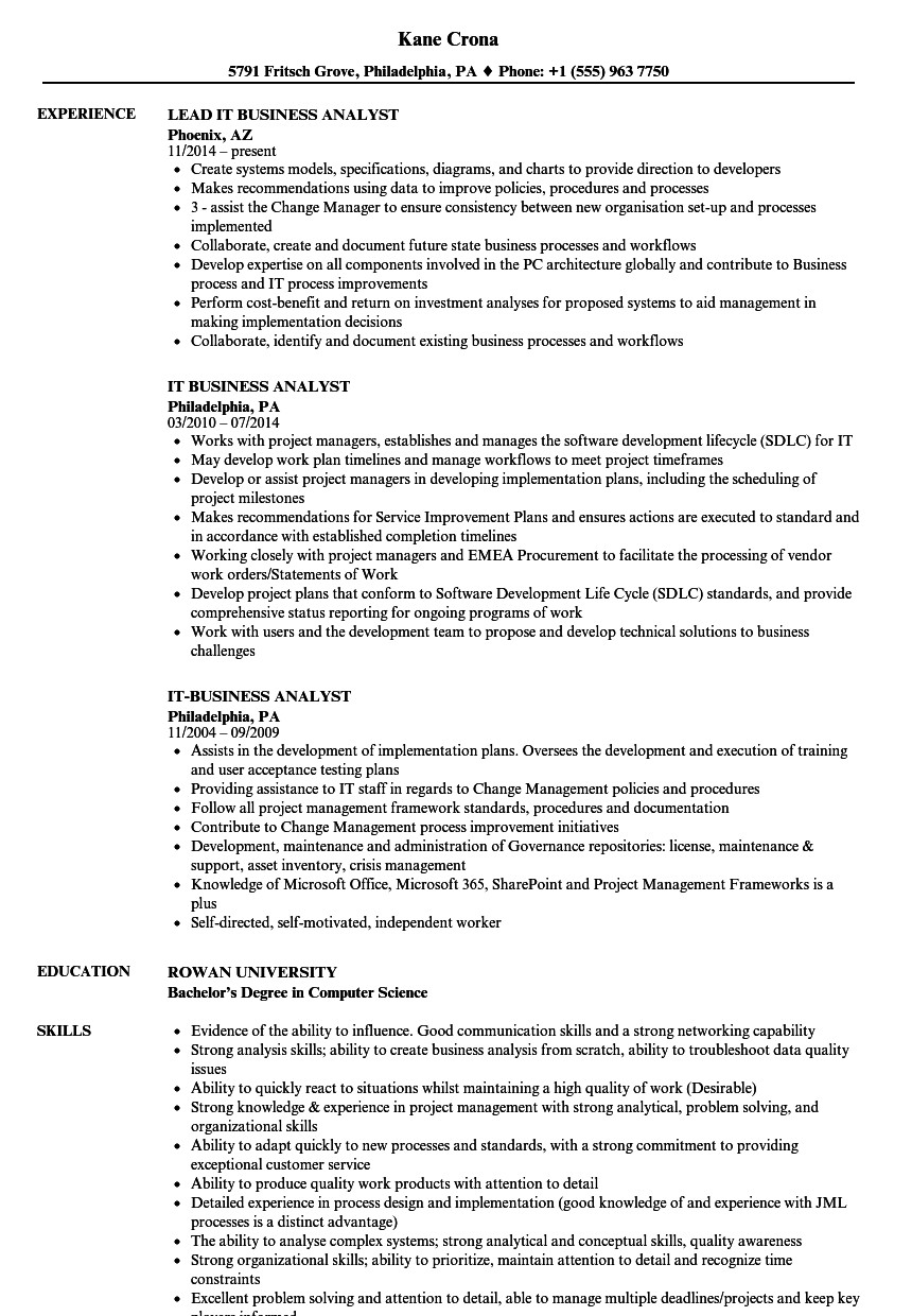Sample Business Analyst Resume It Business Analyst Resume Samples