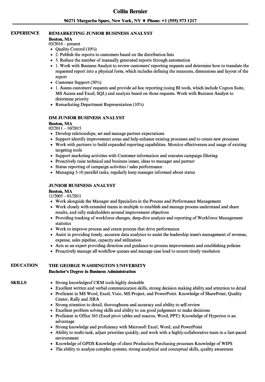Sample Business Analyst Resume Junior Business Analyst Resume Samples