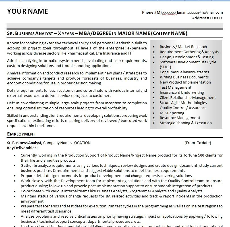 Sample Business Analyst Resume Sample It Business Analyst Resume Cv