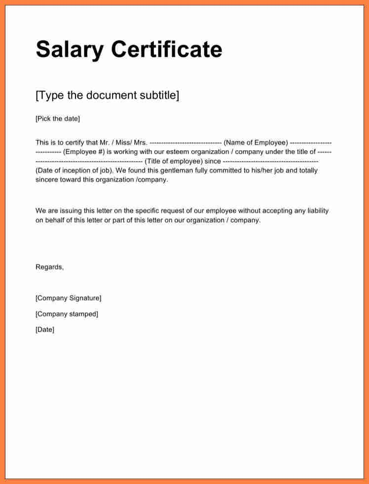 Sample Certificate Of Employment Certificate Employment Sample with Salary
