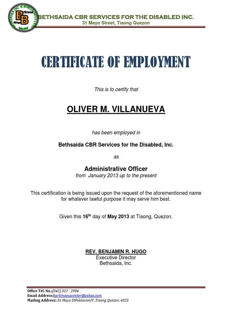 Certificate of Employment Samplecx