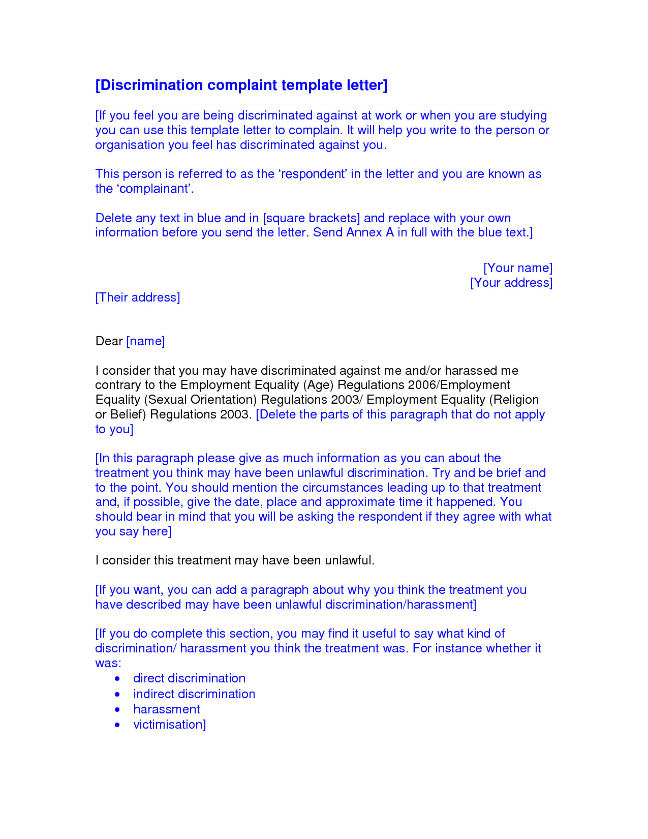 Sample Discrimination Complaint Letter Best S Of formal Letter Plaint Discrimination