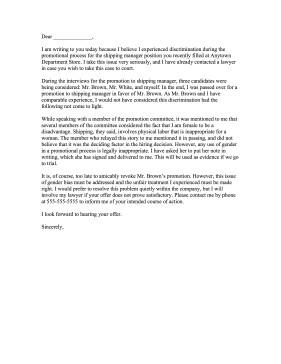 Sample Discrimination Complaint Letter Discrimination Plaint Letter
