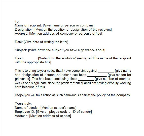 Sample Discrimination Complaint Letter Grievance Letter 11 Download Documents In Pdf Word