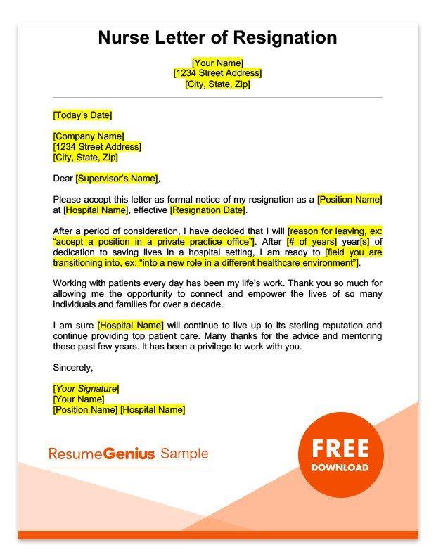 Sample Resignation Letter Nurse Career Specific Resignation Letters