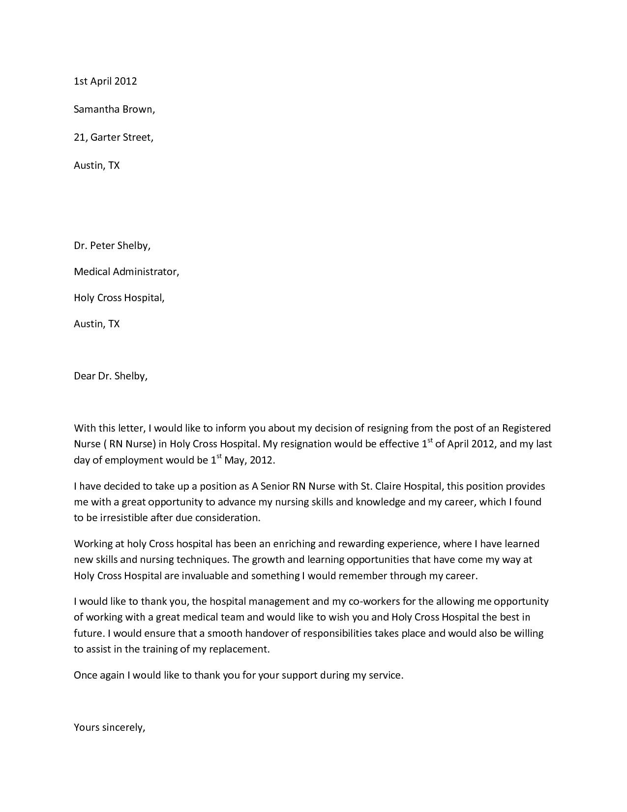 Sample Resignation Letter Nurse Doc Nursing Resignation Letters Sample Nurse Letter