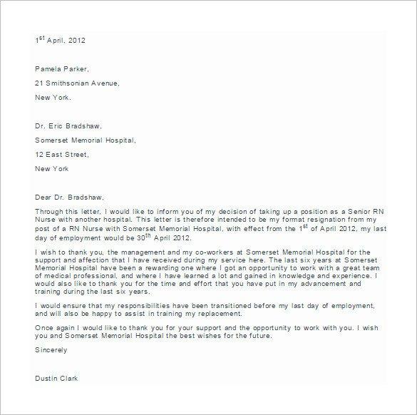 Sample Resignation Letter Nurse Gallery Of Sample Nursing Resignation Letter 6 Documents