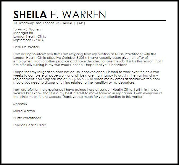Sample Resignation Letter Nurse Nurse Practitioner Resignation Letter Example