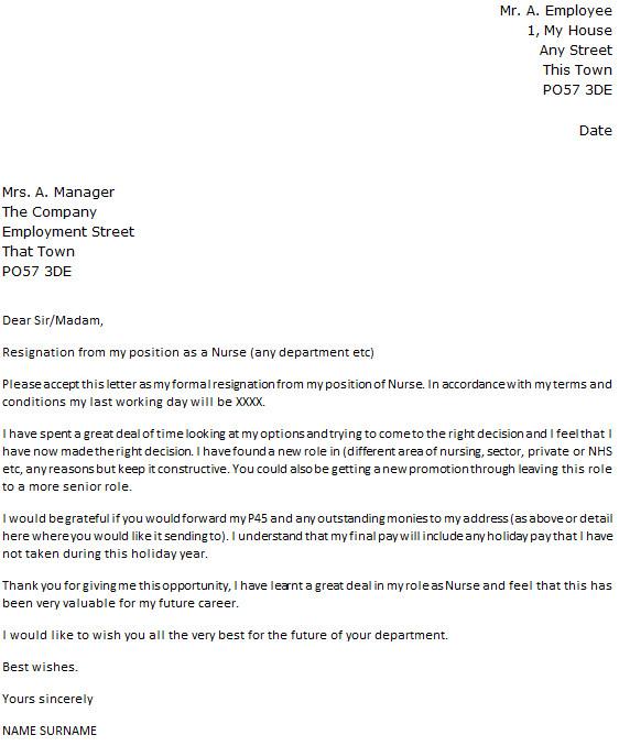 Sample Resignation Letter Nurse Nurse Resignation Letter Example Icover
