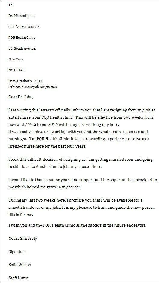 Sample Resignation Letter Nurse Nursing Job Resignation Letter Nursing