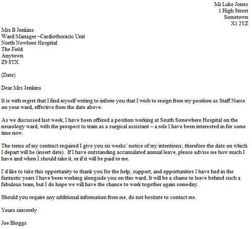 Sample Resignation Letter Nurse Resignation Letter Example for A Nurse Resignletter