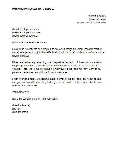 Sample Resignation Letter Nurse Resignation Letter for A Nurse Sample