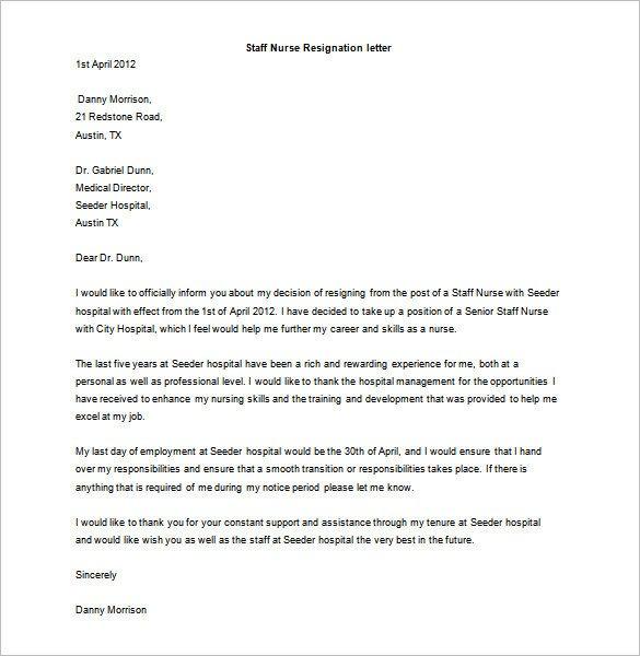 Sample Resignation Letter Nurse Resignation Letter Template 17 Free Word Pdf format