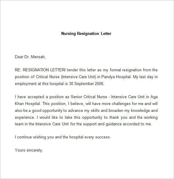 Sample Resignation Letter Nurse Resignation Letter Template 25 Free Word Pdf Documents