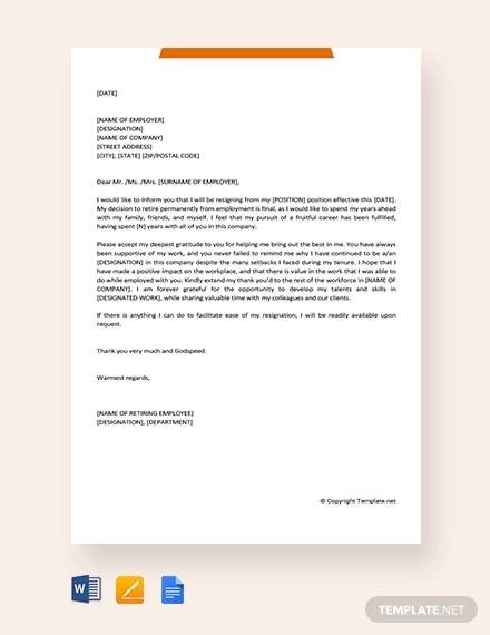 Sample Retirement Resignation Letter 10 Sample Retirement Resignation Letters Pdf Word