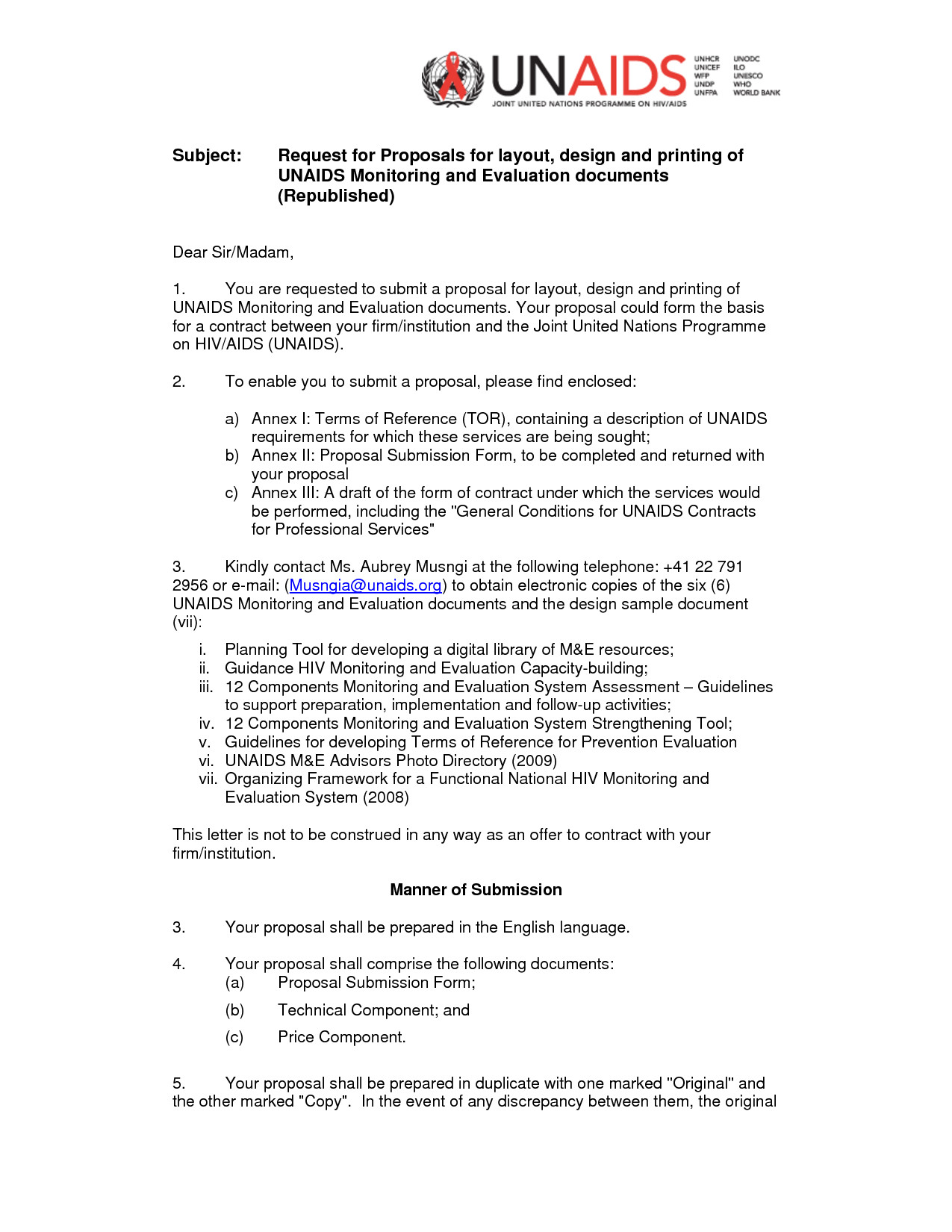 Sample Rfp Response Letter Rfp Cover Letter