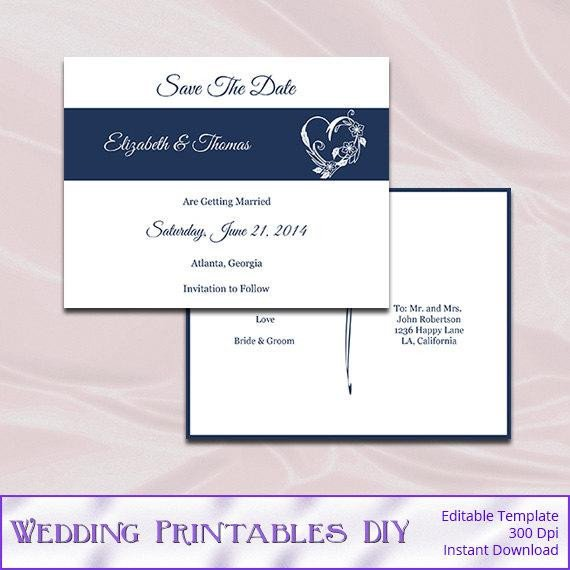 Save the Date Postcard Templates Save the Date Postcard Template Diy Navy by