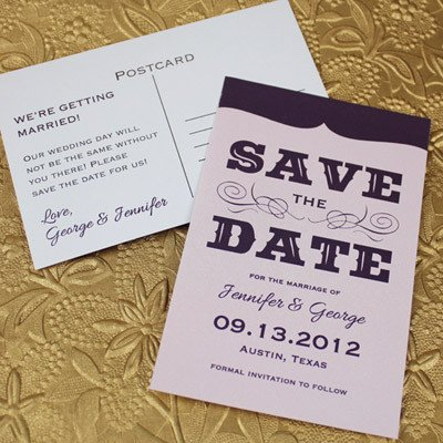 Save the Date Postcard Templates Save the Date Template with Retro Type