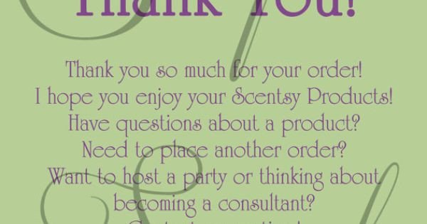Scentsy Party Invitation Template Scentsy Consultant Thank You Customer Card Custom