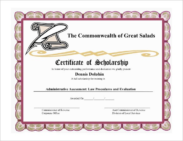 Scholarship Certificate Template Free 11 Scholarship Certificate Templates