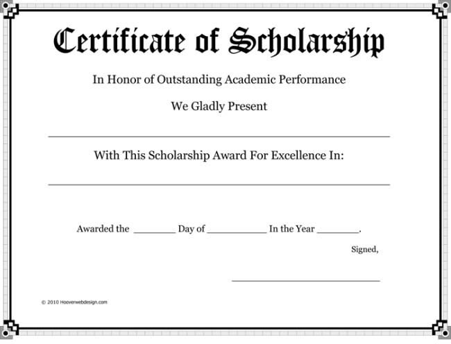 Scholarship Certificate Template Free 5 Plus Scholarship Award Certificate Examples for Word and Pdf