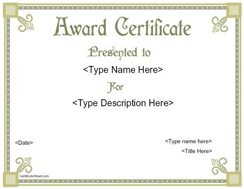 Scholarship Certificate Template Free Certificate Street Free Award Certificate Templates No