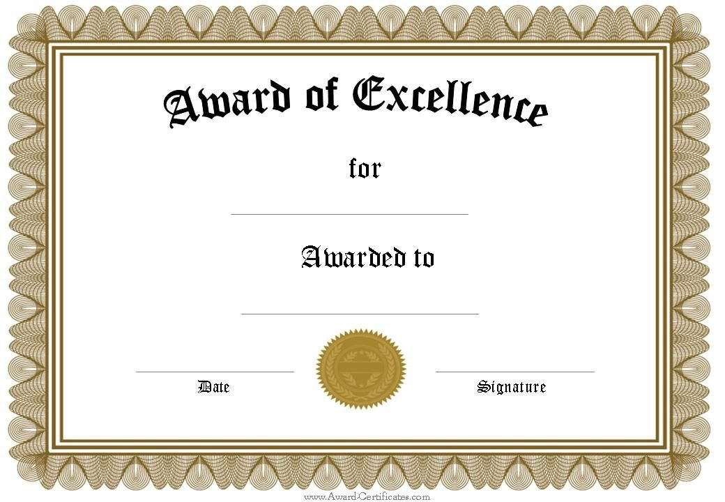 Scholarship Certificate Template Free Free Funny Award Certificates Templates