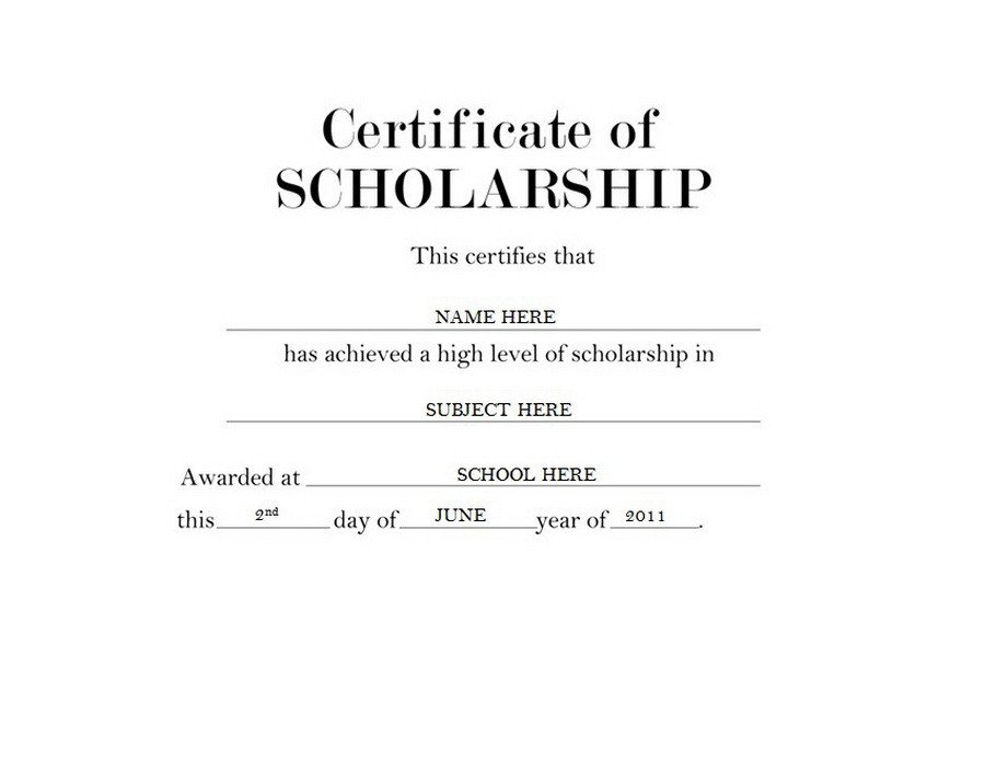 Scholarship Certificate Template Free Geographics Certificates