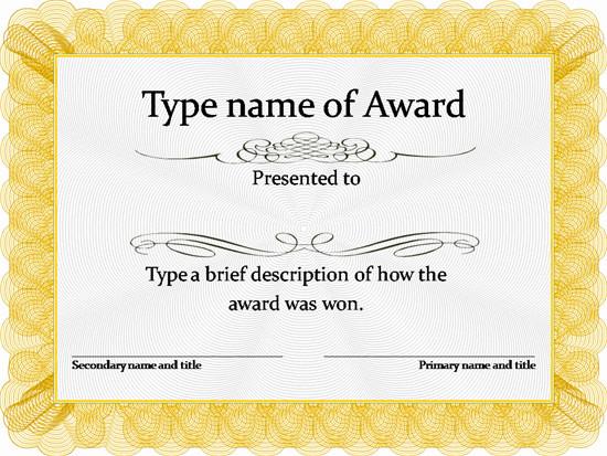 Scholarship Certificate Template Free Gold Award Certificate Template …