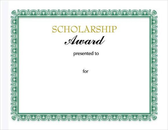 Scholarship Certificate Template Free Sample Scholarship Certificate Template 9 Documents In