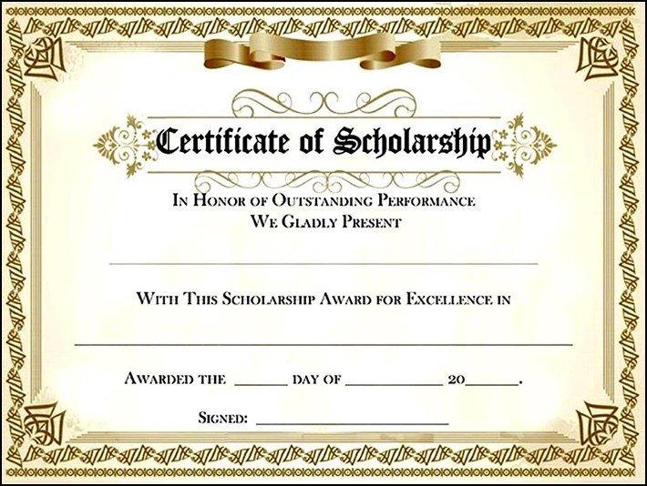 Scholarship Certificate Template Free Scholarship Award Certificate