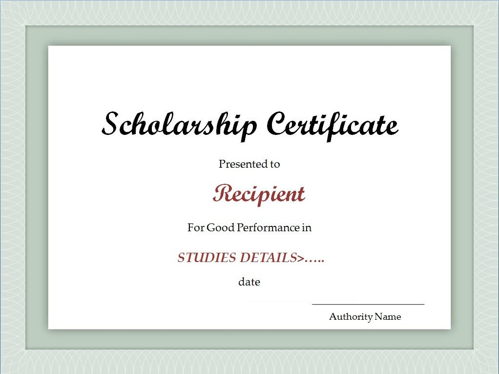 Scholarship Certificate Template Free Scholarship Certificate Template Excel Xlts