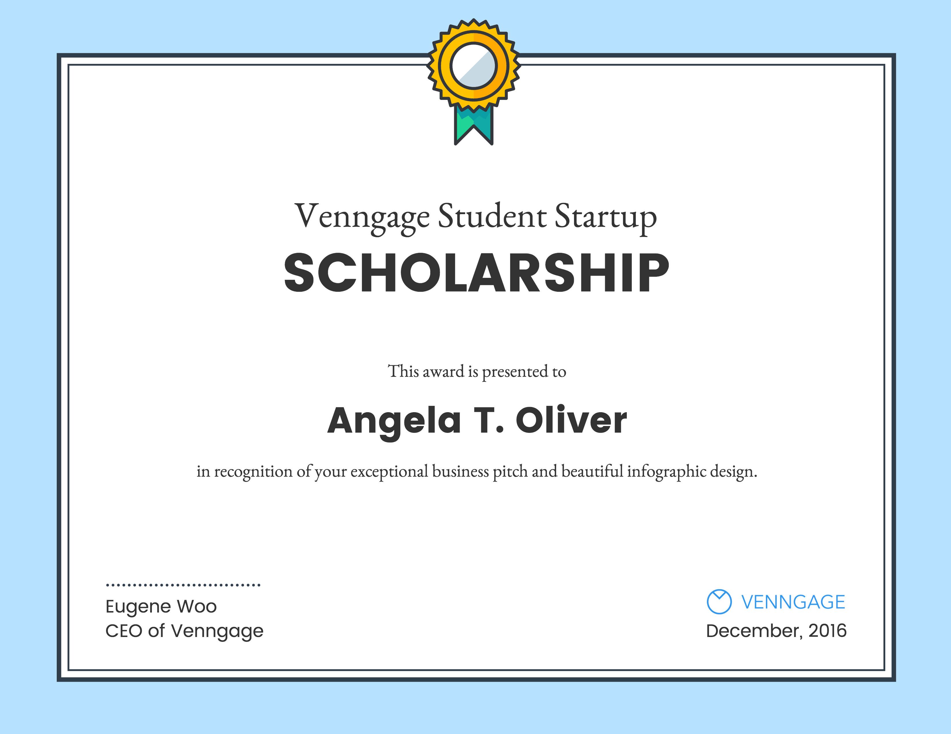 Scholarship Certificate Template Free Venngage Student Scholarship Winners Venngage